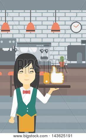 An asian young waitress carrying tray with like button. Waitress holding restaurant tray with like button on a cafe background. Vector flat design illustration. Vertical layout.