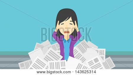 An asian stressed business woman clutching her head because of having a lot of work to do. Busy business woman with lots of papers. Vector flat design illustration. Horizontal layout.