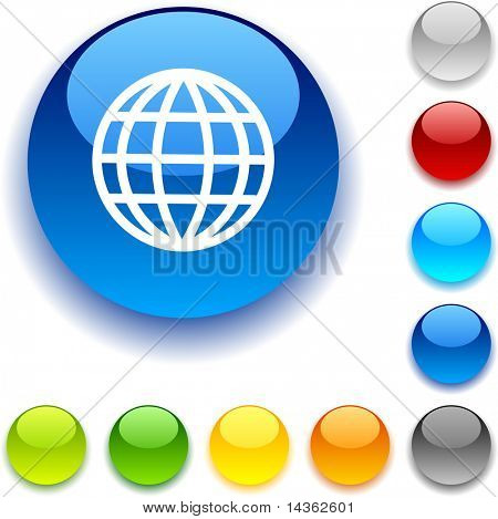 Earth  shiny button. Vector illustration.