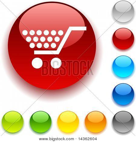 Shopping shiny button. Vector illustration.