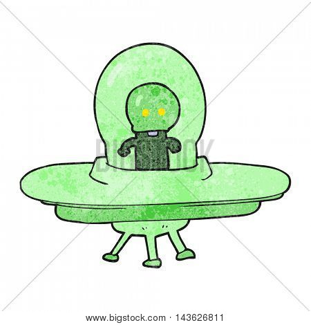 freehand textured cartoon alien in flying saucer