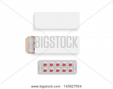 Blank white pill box design mockup set isolated 3d illustration. Clear blister pillbox template mock up. Open and close red tablets cardboard container. Blister pill boxing with drug colored capsule