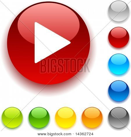 Play shiny button. Vector illustration.