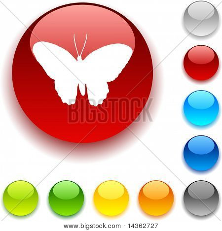 Butterfly shiny button. Vector illustration.