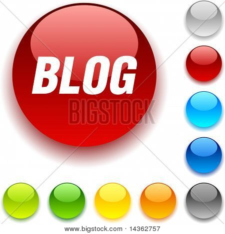 Blog shiny button. Vector illustration.