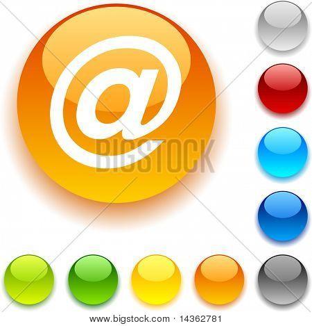 Arroba shiny button. Vector illustration.