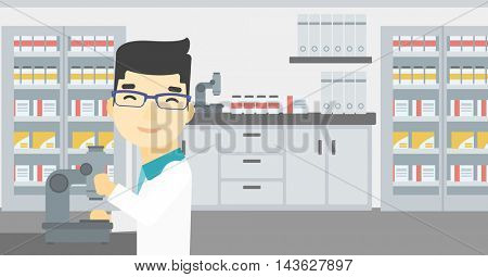 An asian male laboratory assistant working with microscope at the laboratory. Young scientist using a microscope in a laboratory. Vector flat design illustration. Horizontal layout.