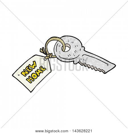 freehand textured cartoon house key with new home tag
