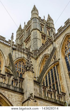 Details of architecture in Bath Abbey, Bath, England on sunny day.