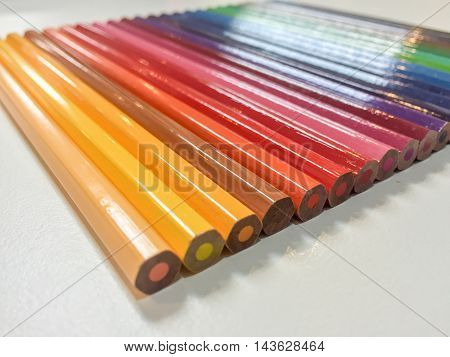 Beautiful Color pencils isolated on white background.