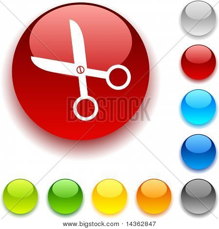 scissors shiny button. Vector illustration.