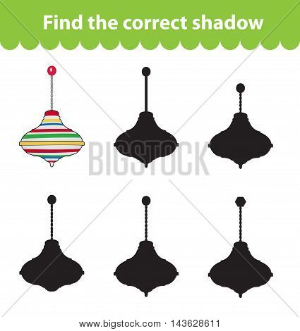 Children's educational game find correct shadow silhouette. Toy whirligig set the game to find the right shade. Vector illustration