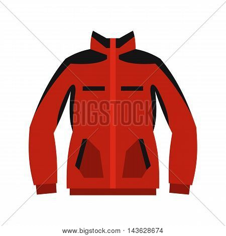 Red sweatshirt with a zipper icon in flat style on a white background