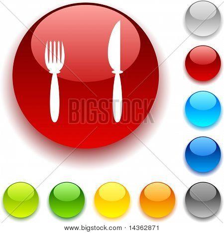 Dinner shiny button. Vector illustration.