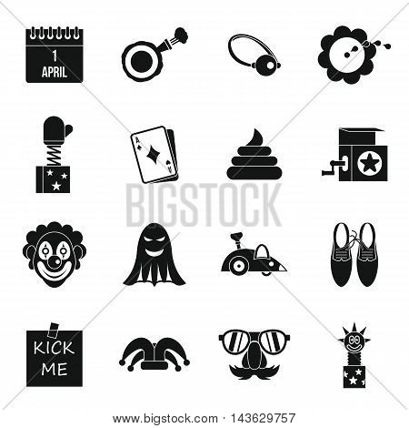 April fools day icons set in simple style. Prank playful actions set collection vector illustration