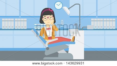 An asian young female patient sitting in dental chair at dentist office. Sad woman suffering from tooth pain. Woman having a toothache. Vector flat design illustration. Horizontal layout.