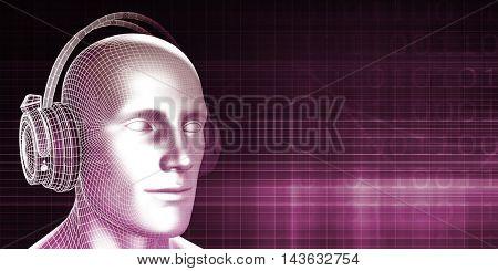 Man Wearing Earphones on an Abstract Background Art 3D Illustration Render 3D Illustration Render