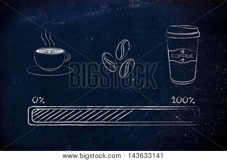 Coffee Icons With Progress Bar Loading Awakeness