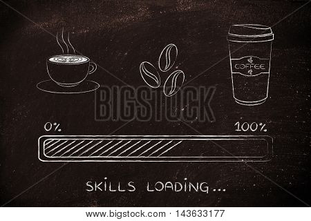 Coffee Icons With Progress Bar Loading Skills