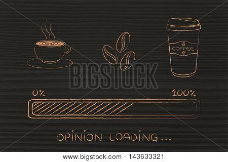 Coffee Icons With Progress Bar Loading Awakeness & Opinions