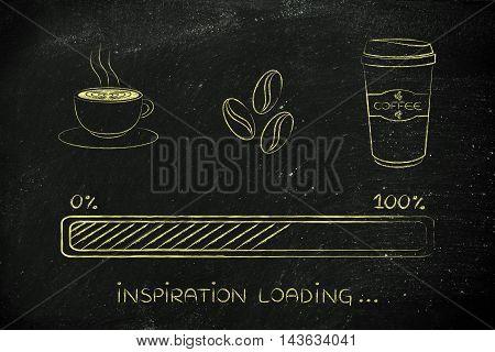 Coffee Icons With Progress Bar Loading Inspiration
