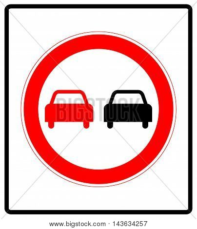 No overtaking road traffic sign icon isolated on white background. Prohibition symbol in red circle for road.