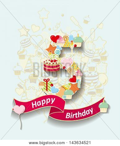 Card invitation with  number and ribbon. Happy Birthday 5 year