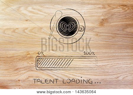 Latte Art Coffee Cup & Progress Bar Loading Talent