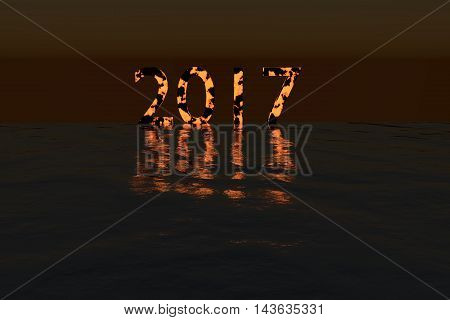 Glowing 2017 on the sea during night with glossy shadow rendered illustration
