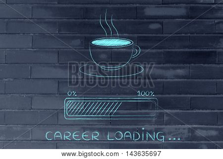 Coffee Cup & Progress Bar Loading Career