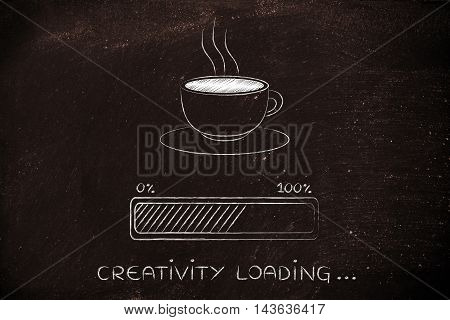 Coffee Cup & Progress Bar Loading Creativity