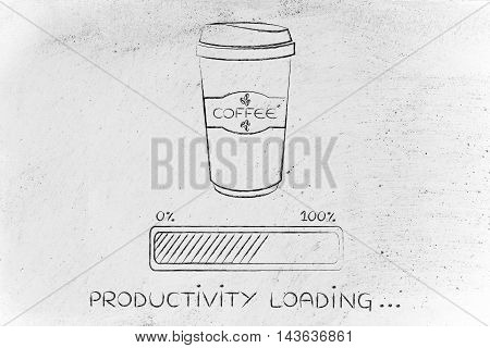 Coffee Tumbler And Progress Bar Loading Produtivity