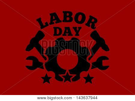 Labor Day logo against the backdrop of the red flag. Labor Day. Workers' Day. May Day card. Vector illustration