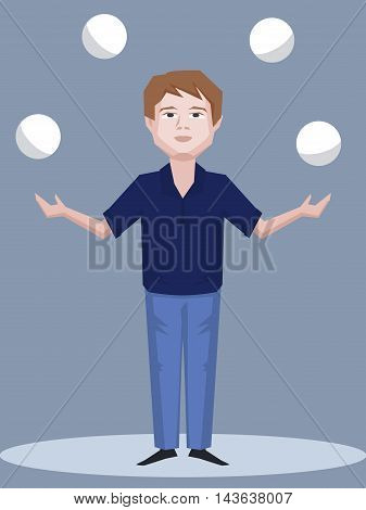 man juggling with balls - vector cartoon illustration of skill and consentration