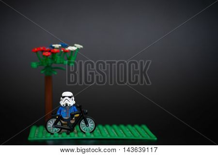 Orvieto Italy - November 22th 2015: Star Wars Lego Stormtroopers and bicycle. Lego is a popular line of construction toys manufactured by the Lego Group