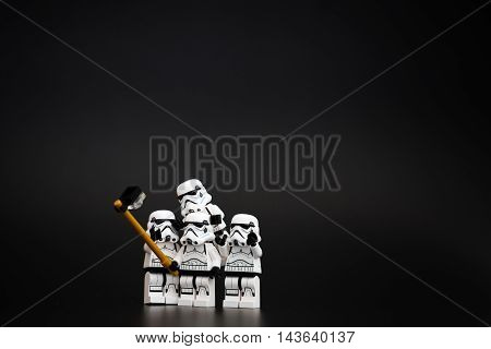 Orvieto Italy - November 15th 2015: Star Wars Lego Stormtroopers minifigures take a selfie. Lego is a popular line of construction toys manufactured by the Lego Group