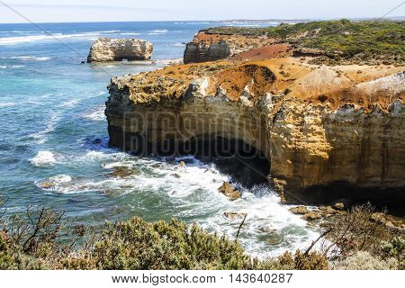 Bay of islands coastal park at the great Ocean road near Warrnambool in Victoria in Australia