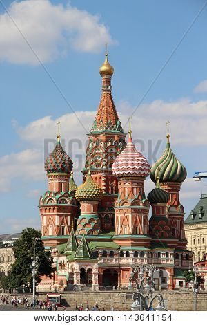 Beautiful view of Saint Basil Cathedral cupola Moscow Russia