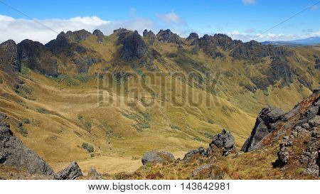 View of El Puntas peaks near of the city of Quito / Ecuador