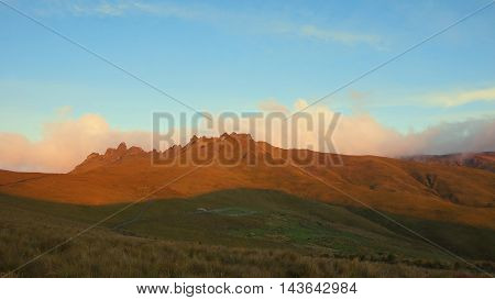 Sunset in El Puntas peaks near of the city of Quito / Ecuador