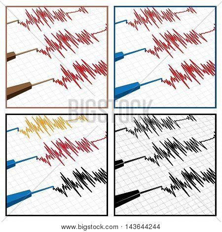 stylized vector illustration on the theme of seismic activity and seismograms
