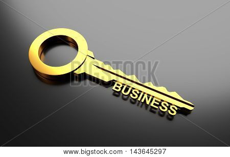 Business concept, Golden key with word business. 3D Illustration