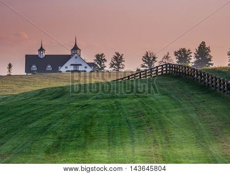 Black Fence Leads over the Hill in Kentucky horse country