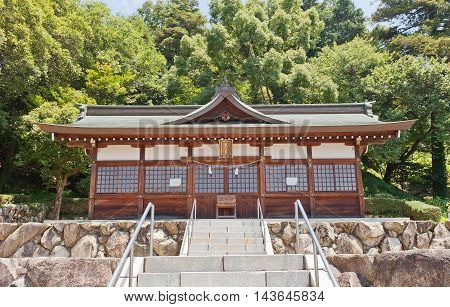 OKAYAMA JAPAN - JULY 20 2016: Ebisu Hall of Kibitsu Shinto Shrine. Kibitsu Shrine was the chief Shinto shrine (ichinomiya) of Bitchu Province