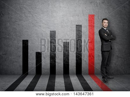 Businessman standing with folded arms on the background of a bar diargram. Sucessful management. Business staff. Office clothes. Stock market.