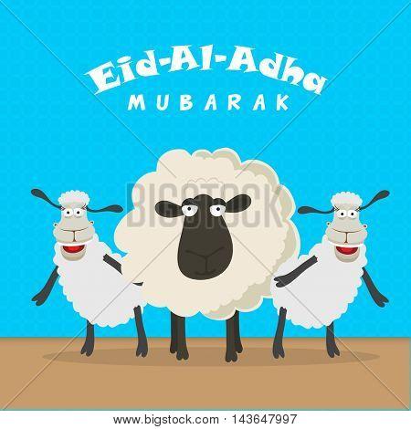 Illustration of funny dancing Sheeps for Muslim Community, Festival of Sacrifice, Eid-Al-Adha Mubarak. Vector illustration.
