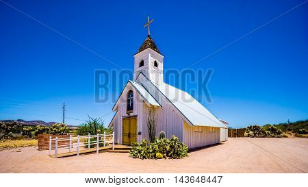 Old Church Building that is now a Museum in Lost Dutchman State Park in Tonto National Forest along the Apache Trail in Arizona, USA poster