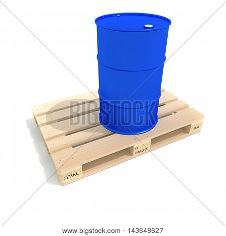 Blue barrel and euro pallette, isolated on white background