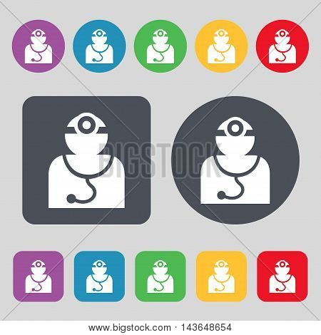 Doctor With Stethoscope Around His Neck Icon Sign. A Set Of 12 Colored Buttons. Flat Design. Vector