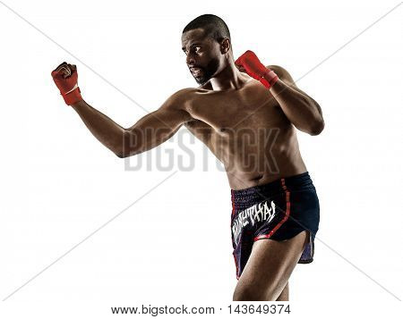 Muay Thai kickboxing kickboxer boxing man isolated